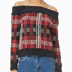 Forever 21 Off Shoulder Plaid Sweater